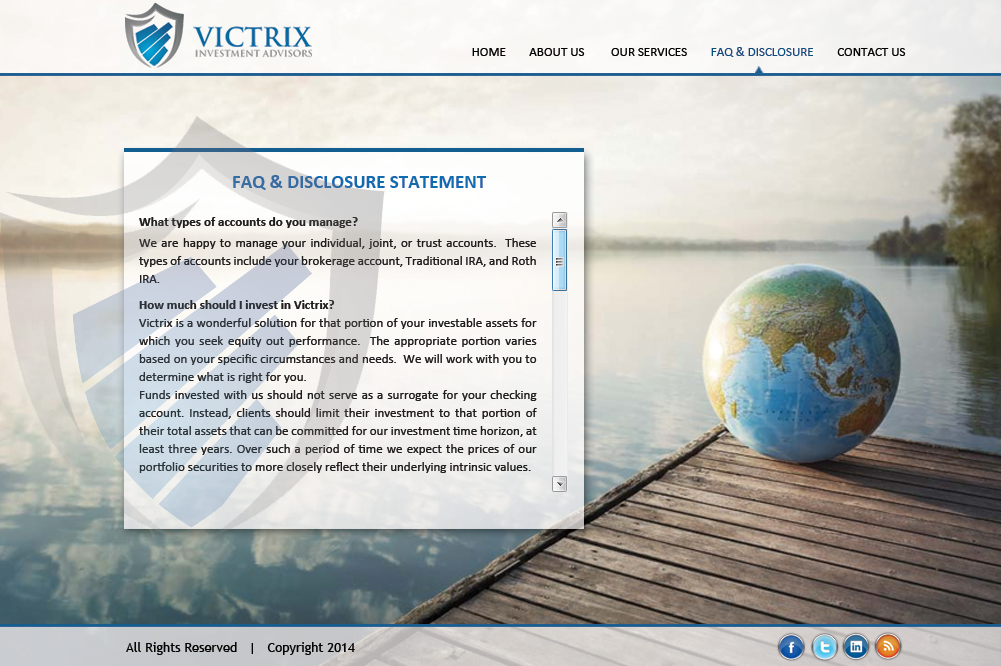 Web Page Design by Vishwa Km - Entry No. 56 in the Web Page Design Contest Captivating Web Page Design for Victrix Investment Advisors.