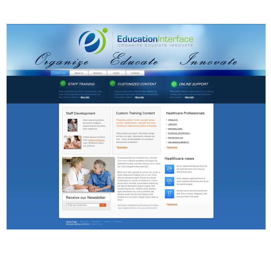Web Page Design by keekee360 - Entry No. 7 in the Web Page Design Contest Education Interface.