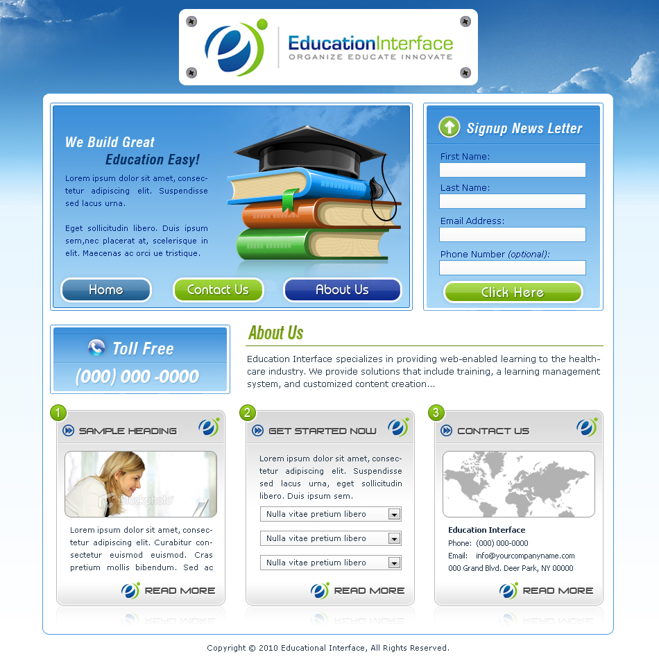 Web Page Design by aesthetic-art - Entry No. 10 in the Web Page Design Contest Education Interface.