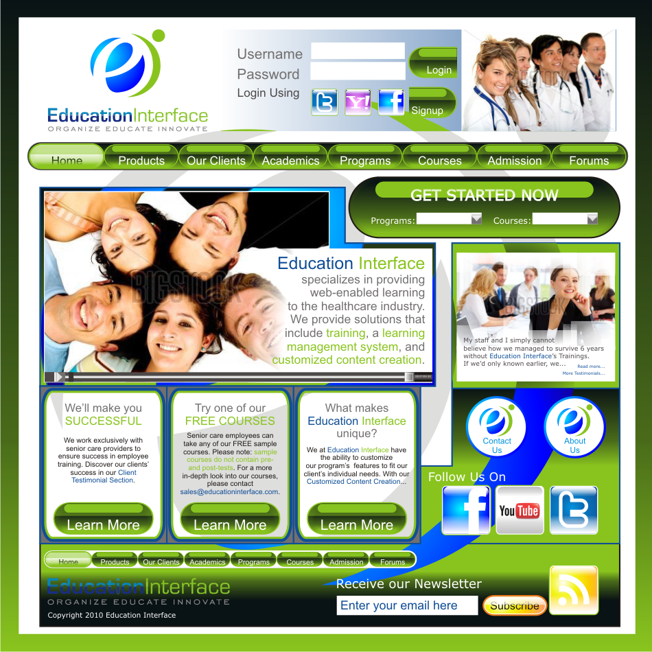 Web Page Design by vector.five - Entry No. 19 in the Web Page Design Contest Education Interface.