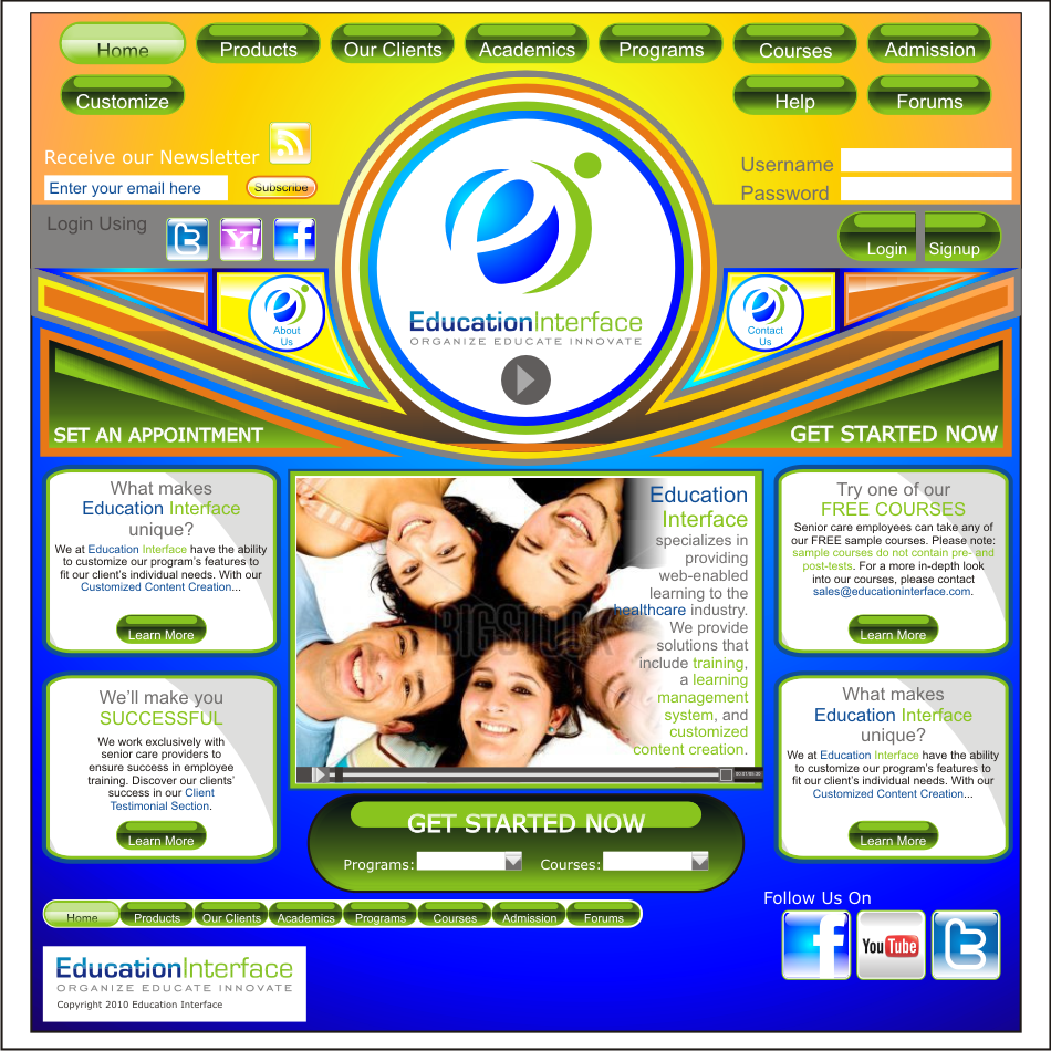 Web Page Design by vector.five - Entry No. 20 in the Web Page Design Contest Education Interface.