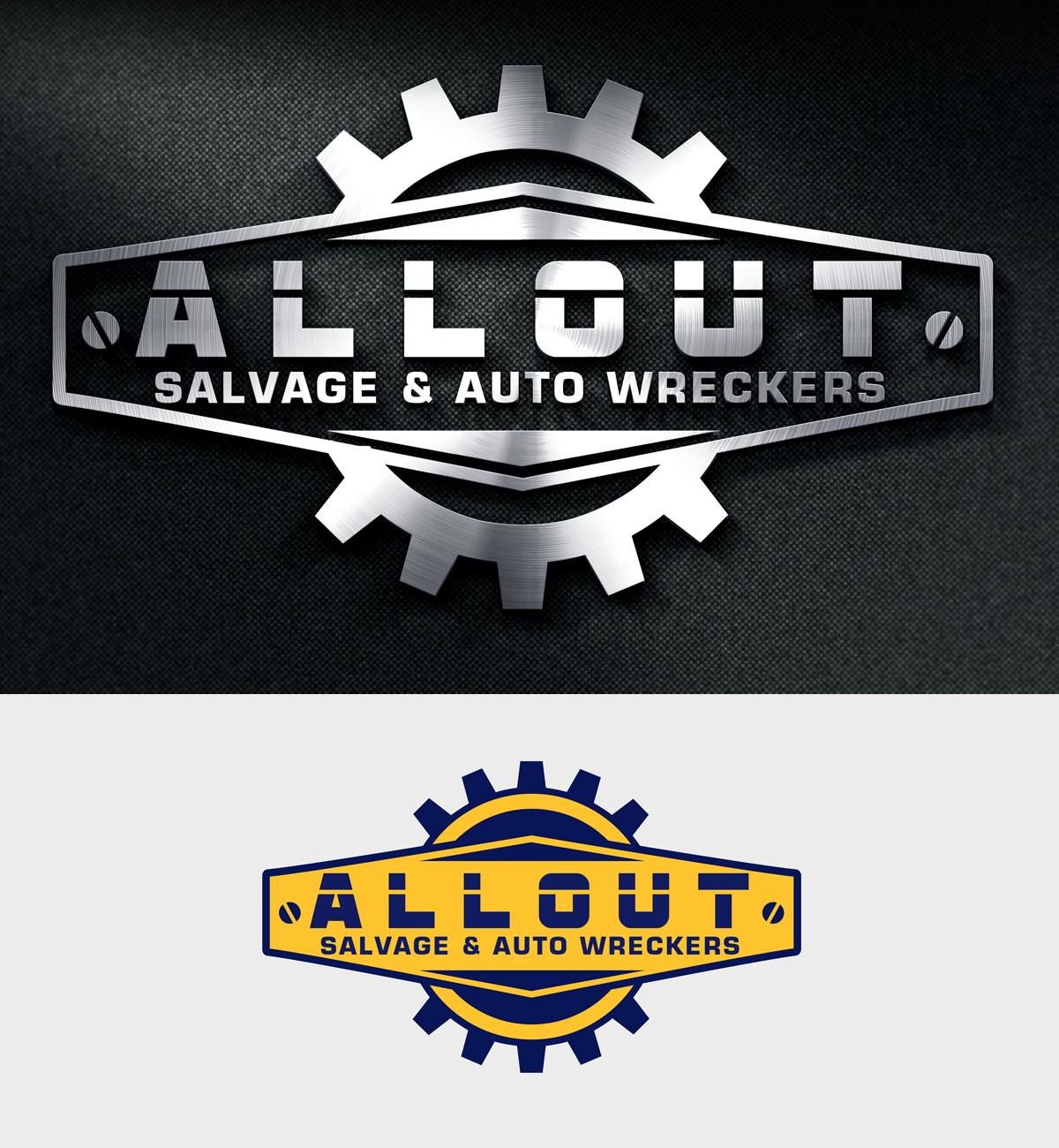 Logo Design by Robert Turla - Entry No. 18 in the Logo Design Contest Inspiring Logo Design for Allout Salvage & Auto Wreckers.