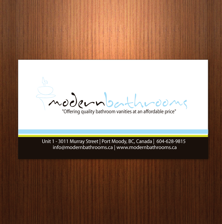 Business Card Design by moonflower - Entry No. 7 in the Business Card Design Contest modernbathrooms.ca image enhancement.
