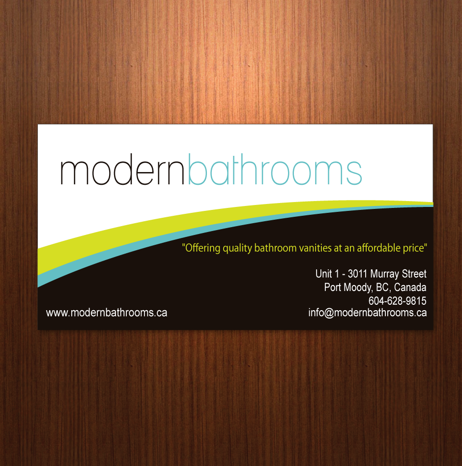 Business Card Design by moonflower - Entry No. 11 in the Business Card Design Contest modernbathrooms.ca image enhancement.