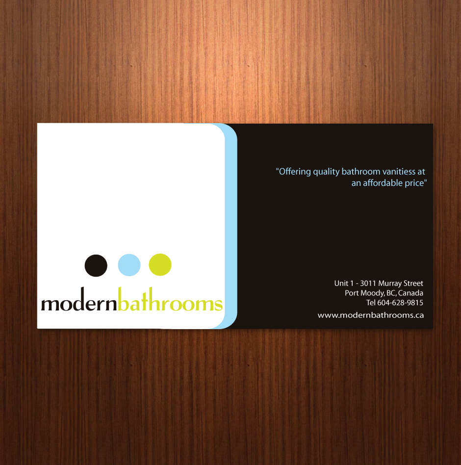 Business Card Design by moonflower - Entry No. 24 in the Business Card Design Contest modernbathrooms.ca image enhancement.
