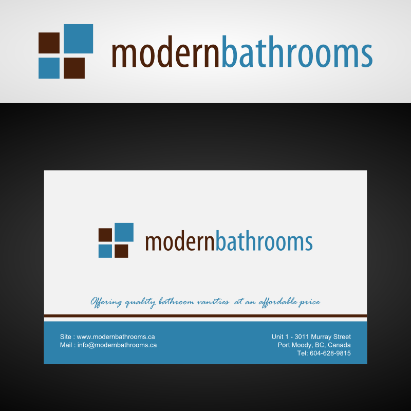 Business Card Design by Andrean Susanto - Entry No. 28 in the Business Card Design Contest modernbathrooms.ca image enhancement.