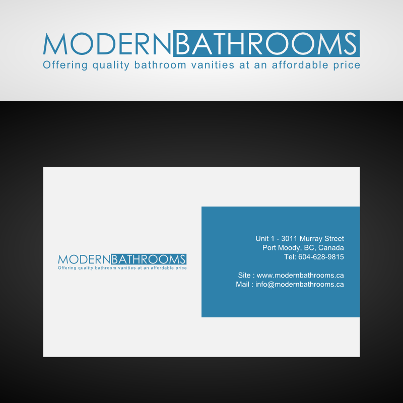 Business Card Design by Andrean Susanto - Entry No. 35 in the Business Card Design Contest modernbathrooms.ca image enhancement.