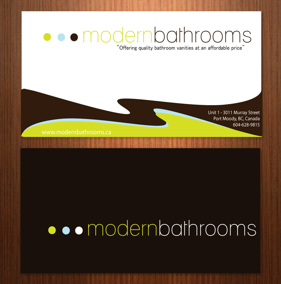 Business Card Design by moonflower - Entry No. 43 in the Business Card Design Contest modernbathrooms.ca image enhancement.