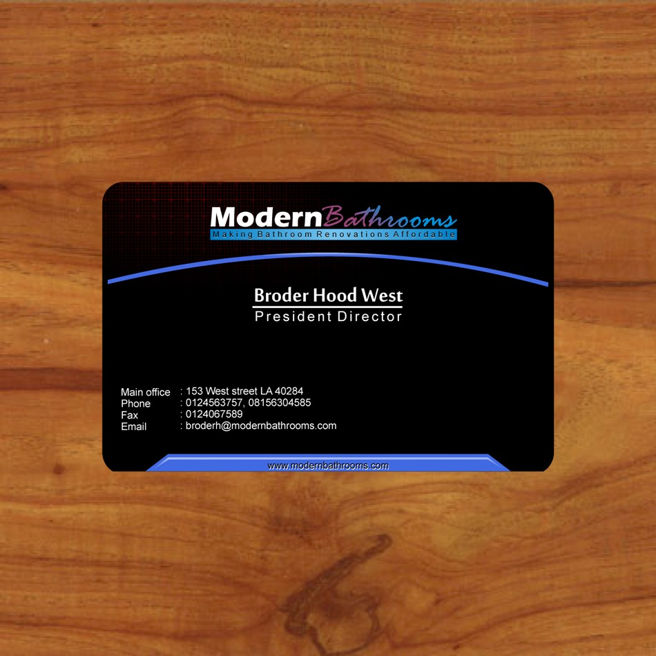 Business Card Design by Edi Rochadi - Entry No. 102 in the Business Card Design Contest modernbathrooms.ca image enhancement.