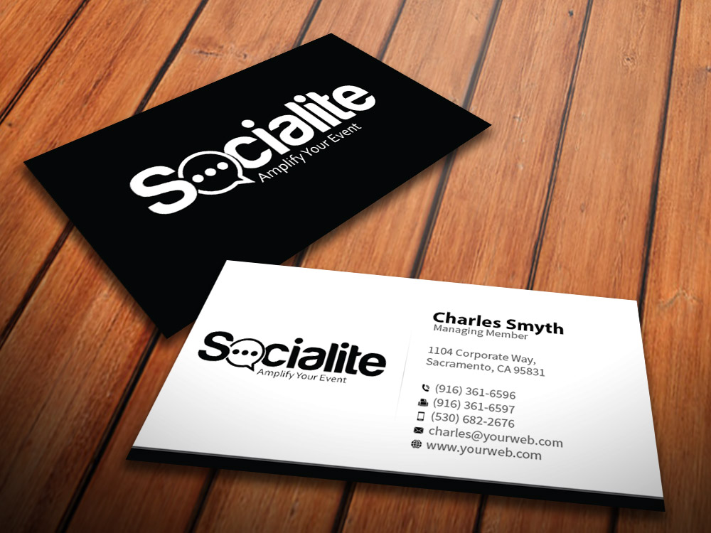 Business Card Design by mediaproductionart - Entry No. 52 in the Business Card Design Contest Socialite LLC  Business Card Design.