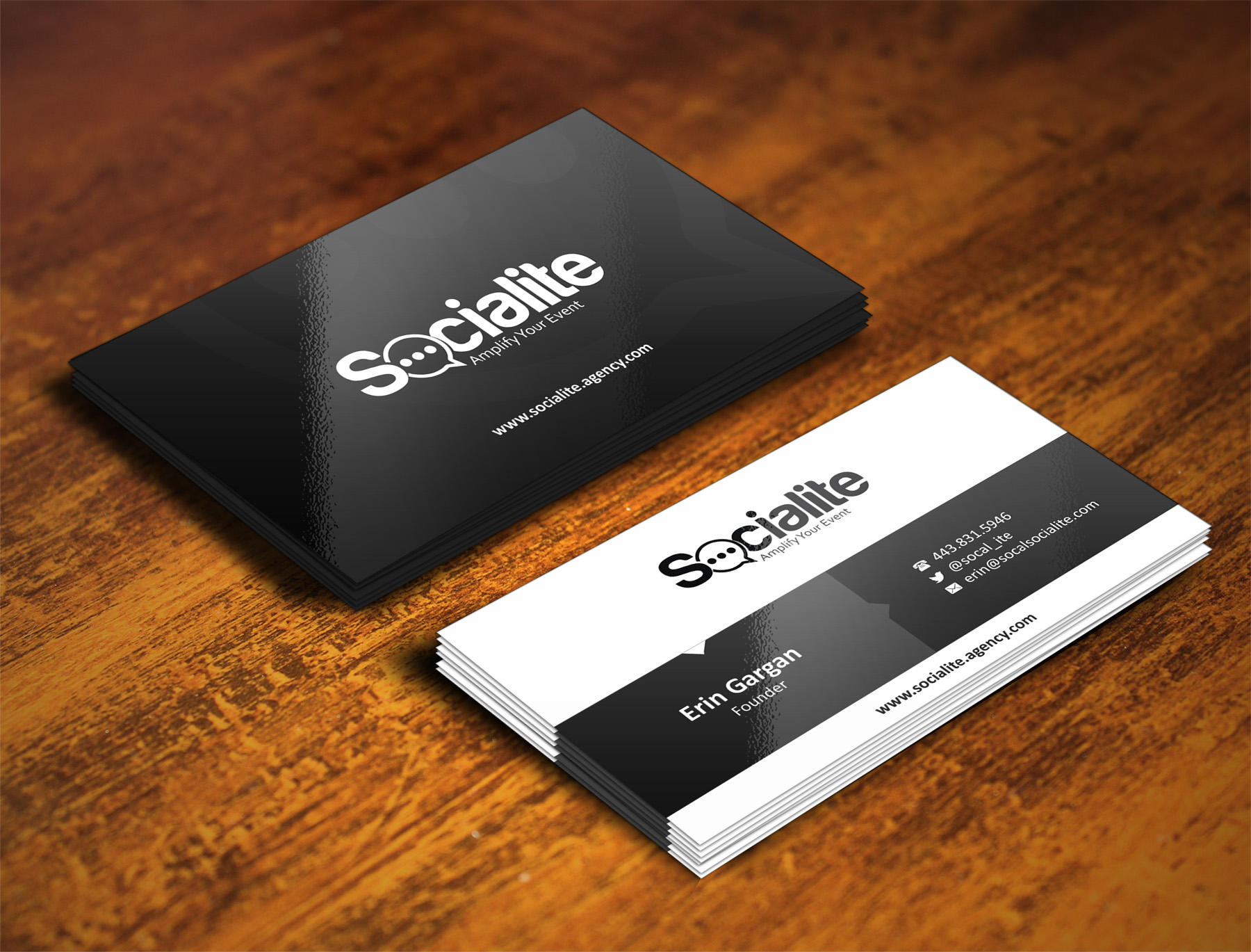 Business Card Design by Muhammad Aslam - Entry No. 72 in the Business Card Design Contest Socialite LLC  Business Card Design.