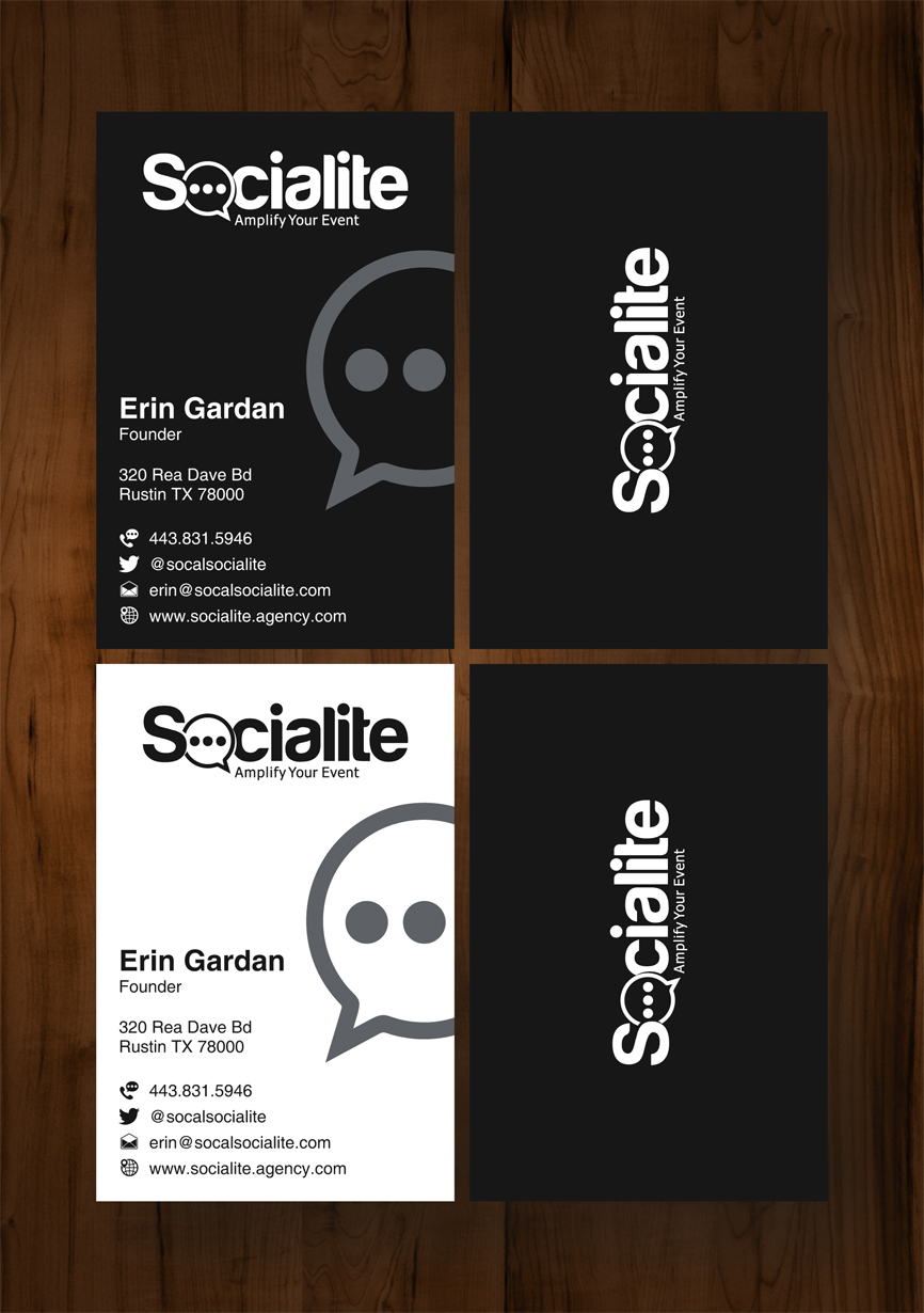 Business Card Design by RasYa Muhammad Athaya - Entry No. 77 in the Business Card Design Contest Socialite LLC  Business Card Design.