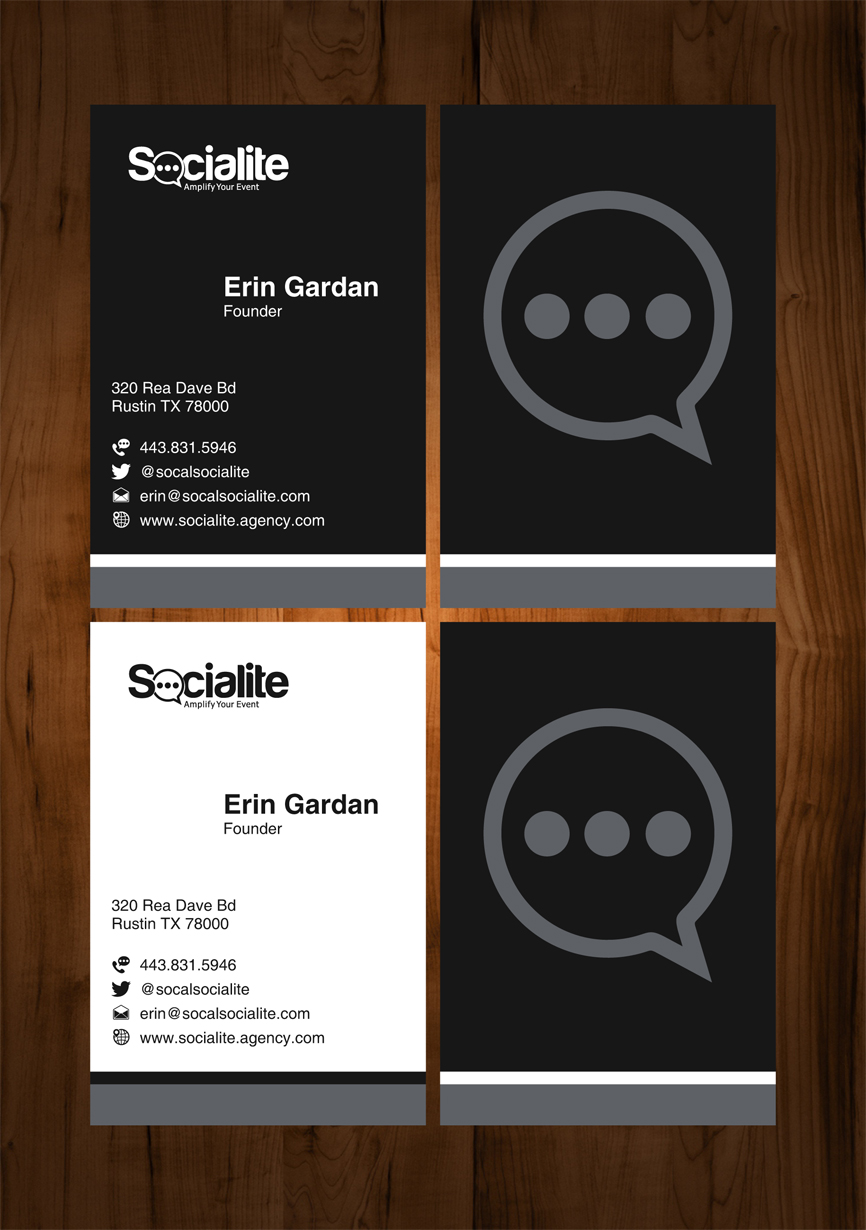 Business Card Design by RasYa Muhammad Athaya - Entry No. 91 in the Business Card Design Contest Socialite LLC  Business Card Design.