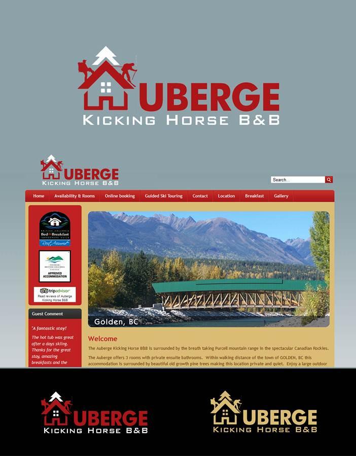 Logo Design by Fita Tiara Sani - Entry No. 64 in the Logo Design Contest Imaginative Logo Design for Auberge Kicking Horse B&B.