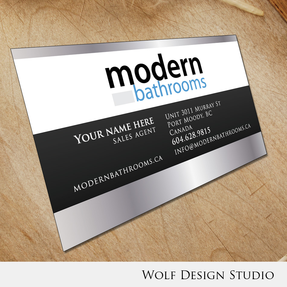 Business Card Design by wolf - Entry No. 129 in the Business Card Design Contest modernbathrooms.ca image enhancement.