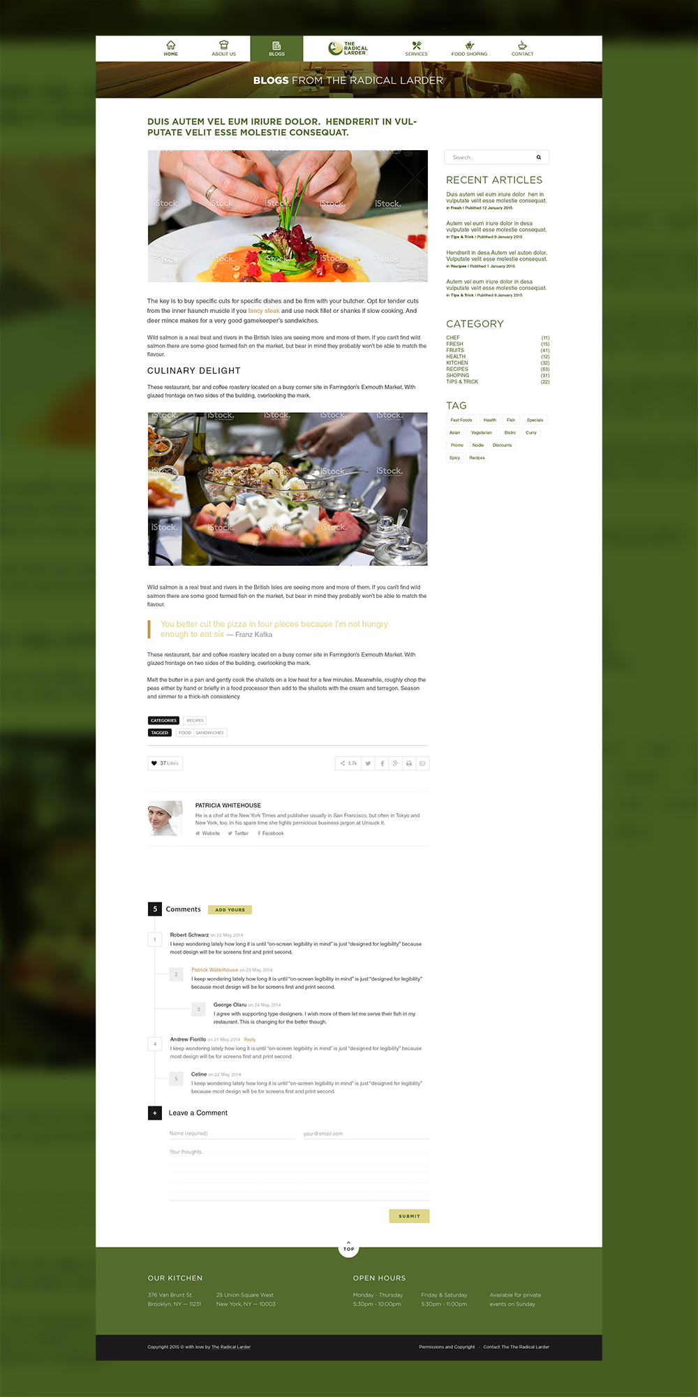 Web Page Design by Private User - Entry No. 105 in the Web Page Design Contest The Radical Larder Web Page Design.