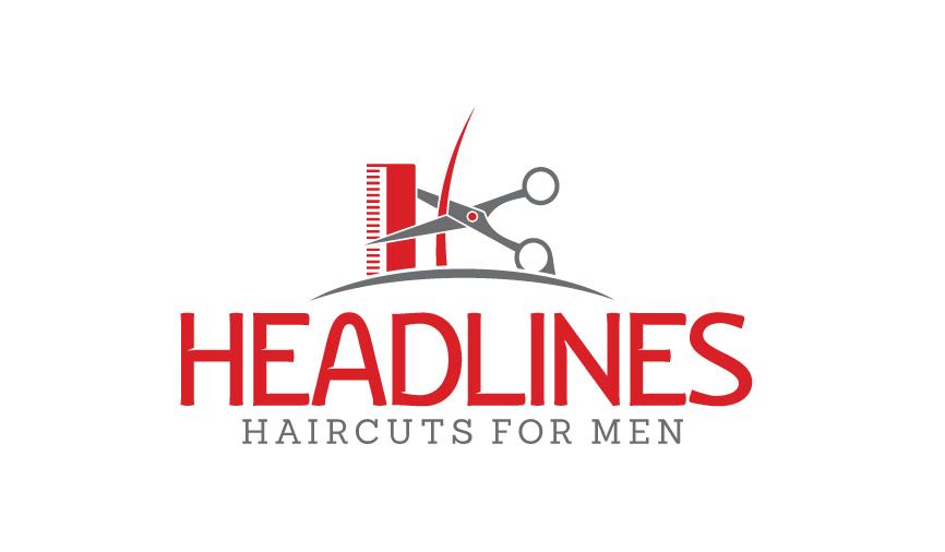 Logo Design by RasYa Muhammad Athaya - Entry No. 19 in the Logo Design Contest Headlines Haircuts For Men Logo Design.