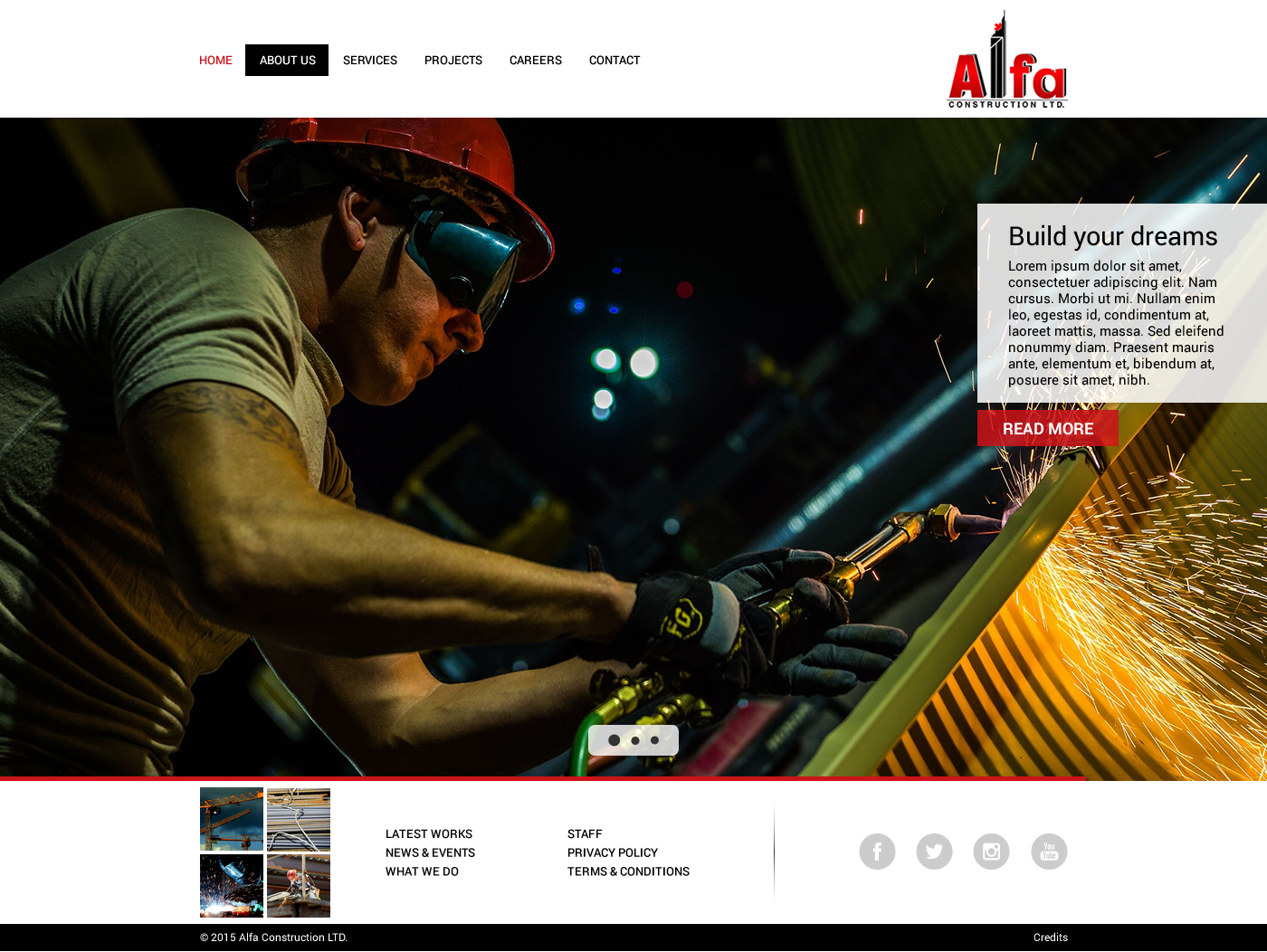 Web Page Design by Pia Scuro - Entry No. 2 in the Web Page Design Contest Unique Web Page Design Wanted for Alfa Construction Ltd..