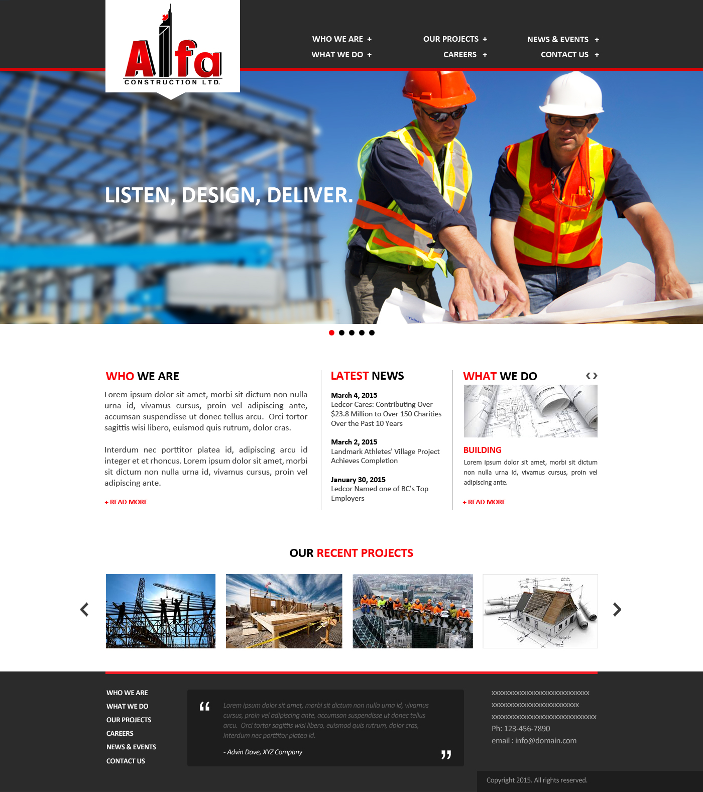 Web Page Design by webexprtz - Entry No. 19 in the Web Page Design Contest Unique Web Page Design Wanted for Alfa Construction Ltd..