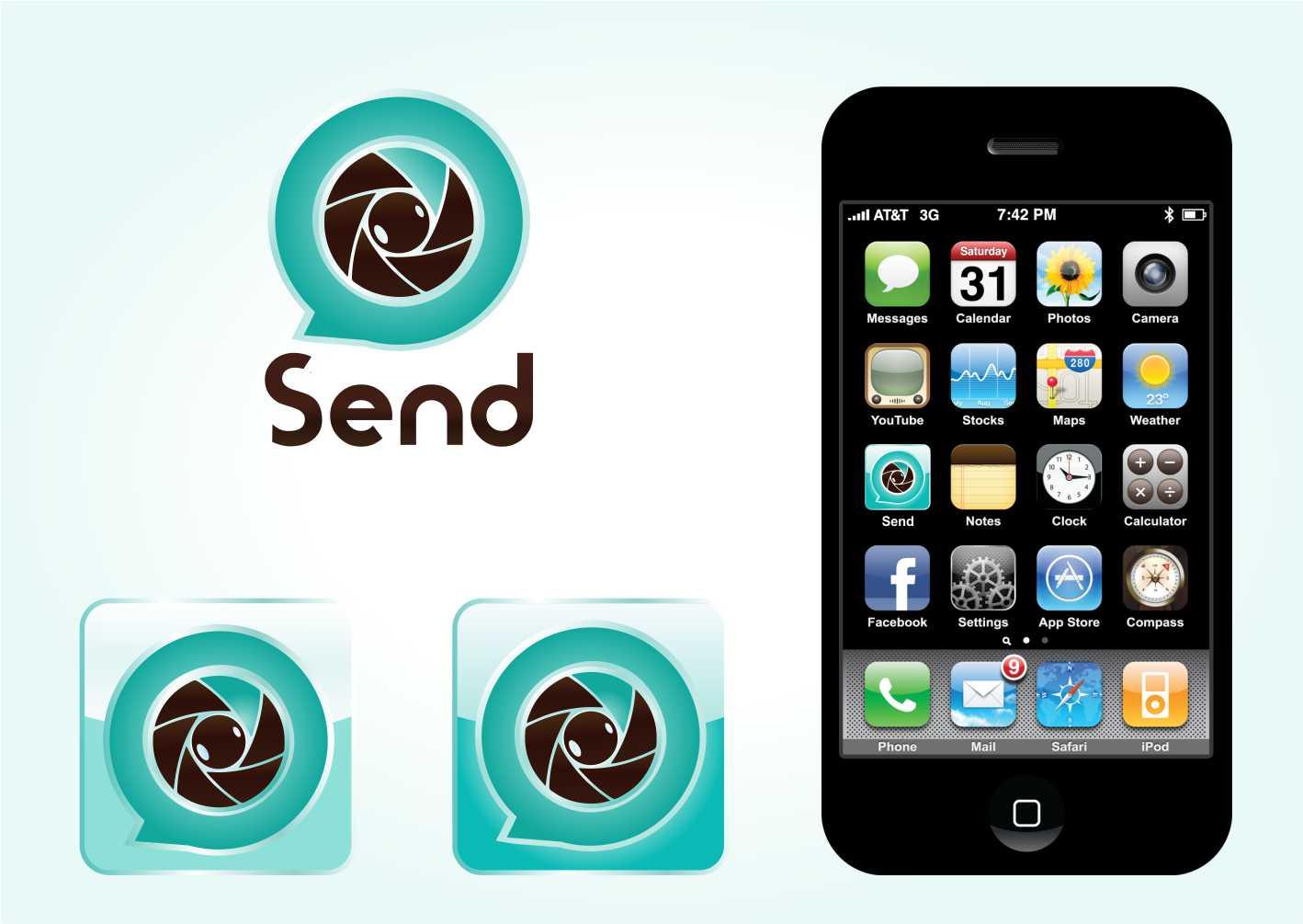 Logo Design by Private User - Entry No. 93 in the Logo Design Contest Logo Design for Send, a photo-messenger app.