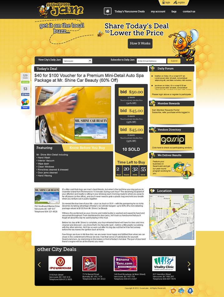Web Page Design by Alf Catadman - Entry No. 26 in the Web Page Design Contest SwarmJam.com website facelift.