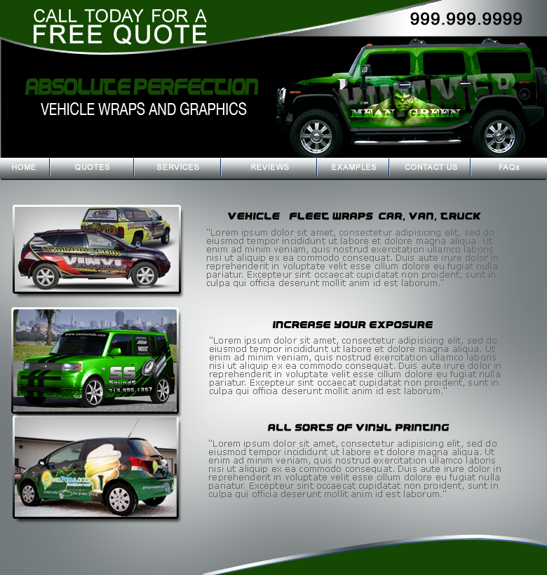 Web Page Design by keekee360 - Entry No. 2 in the Web Page Design Contest Absolute Perfection Vehicle Wraps and Graphics.