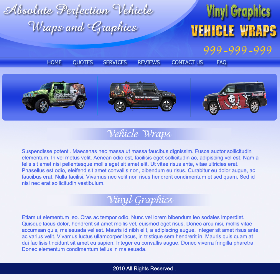 Web Page Design by Pavl0s - Entry No. 3 in the Web Page Design Contest Absolute Perfection Vehicle Wraps and Graphics.