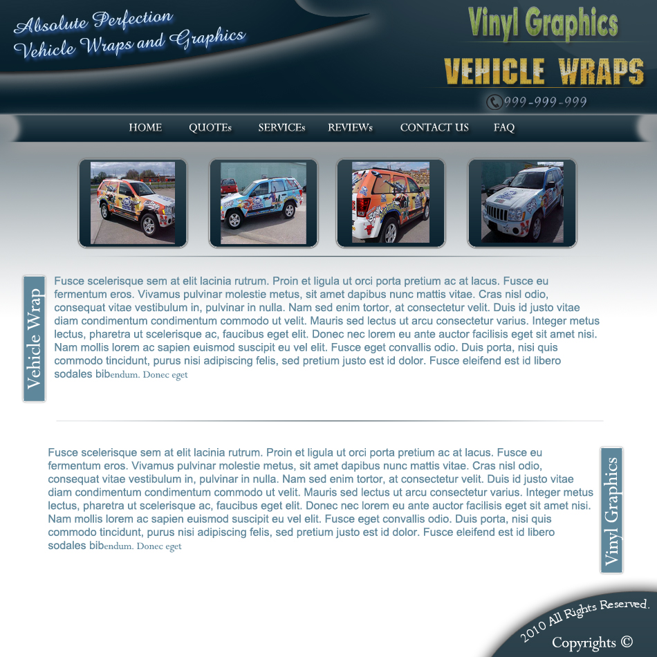 Web Page Design by Pavl0s - Entry No. 4 in the Web Page Design Contest Absolute Perfection Vehicle Wraps and Graphics.
