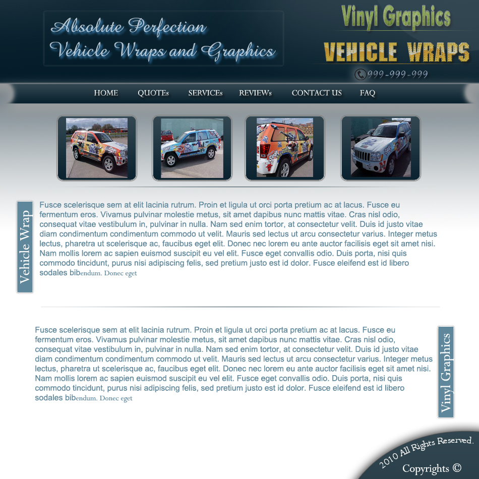 Web Page Design by Pavl0s - Entry No. 6 in the Web Page Design Contest Absolute Perfection Vehicle Wraps and Graphics.