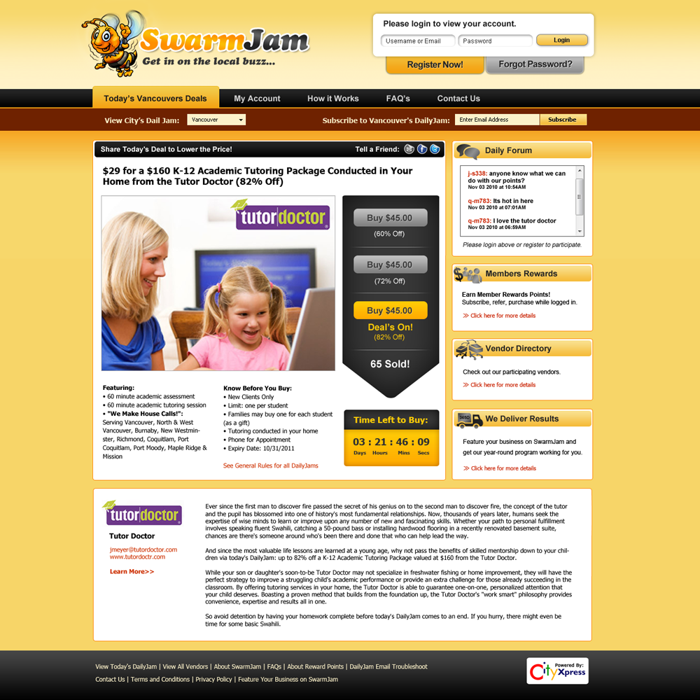 Web Page Design by Private User - Entry No. 41 in the Web Page Design Contest SwarmJam.com website facelift.
