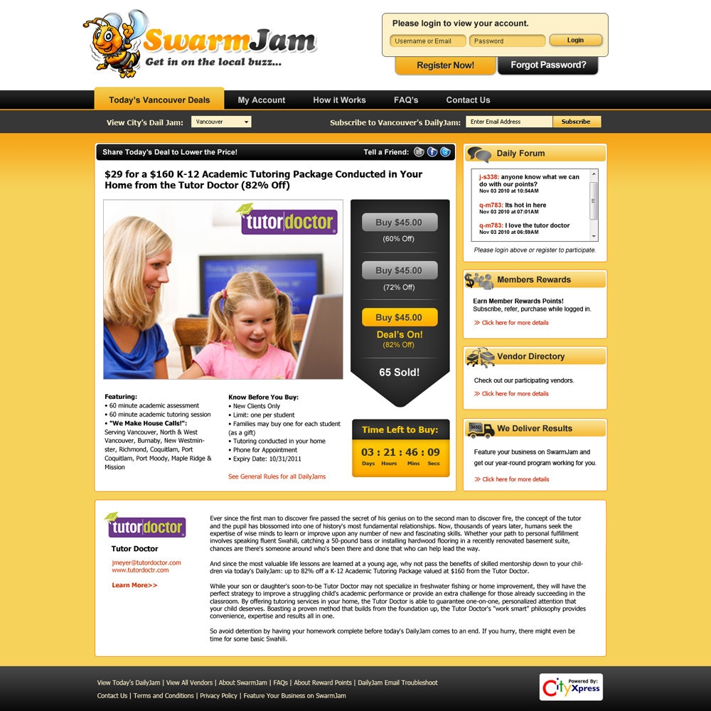 Web Page Design by Private User - Entry No. 42 in the Web Page Design Contest SwarmJam.com website facelift.