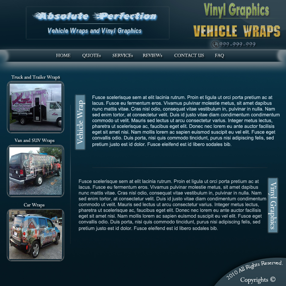 Web Page Design by Pavl0s - Entry No. 7 in the Web Page Design Contest Absolute Perfection Vehicle Wraps and Graphics.