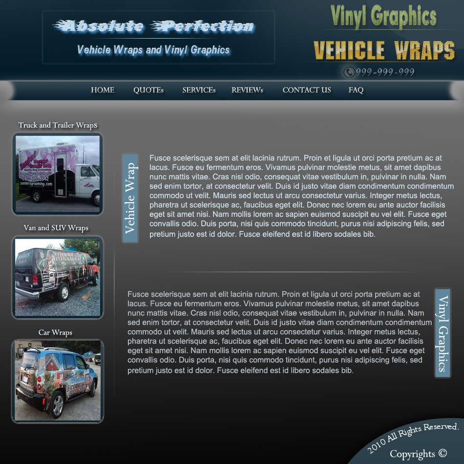 Web Page Design by Pavl0s - Entry No. 8 in the Web Page Design Contest Absolute Perfection Vehicle Wraps and Graphics.