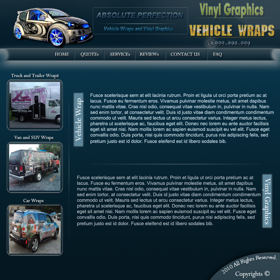 Web Page Design by Pavl0s - Entry No. 9 in the Web Page Design Contest Absolute Perfection Vehicle Wraps and Graphics.