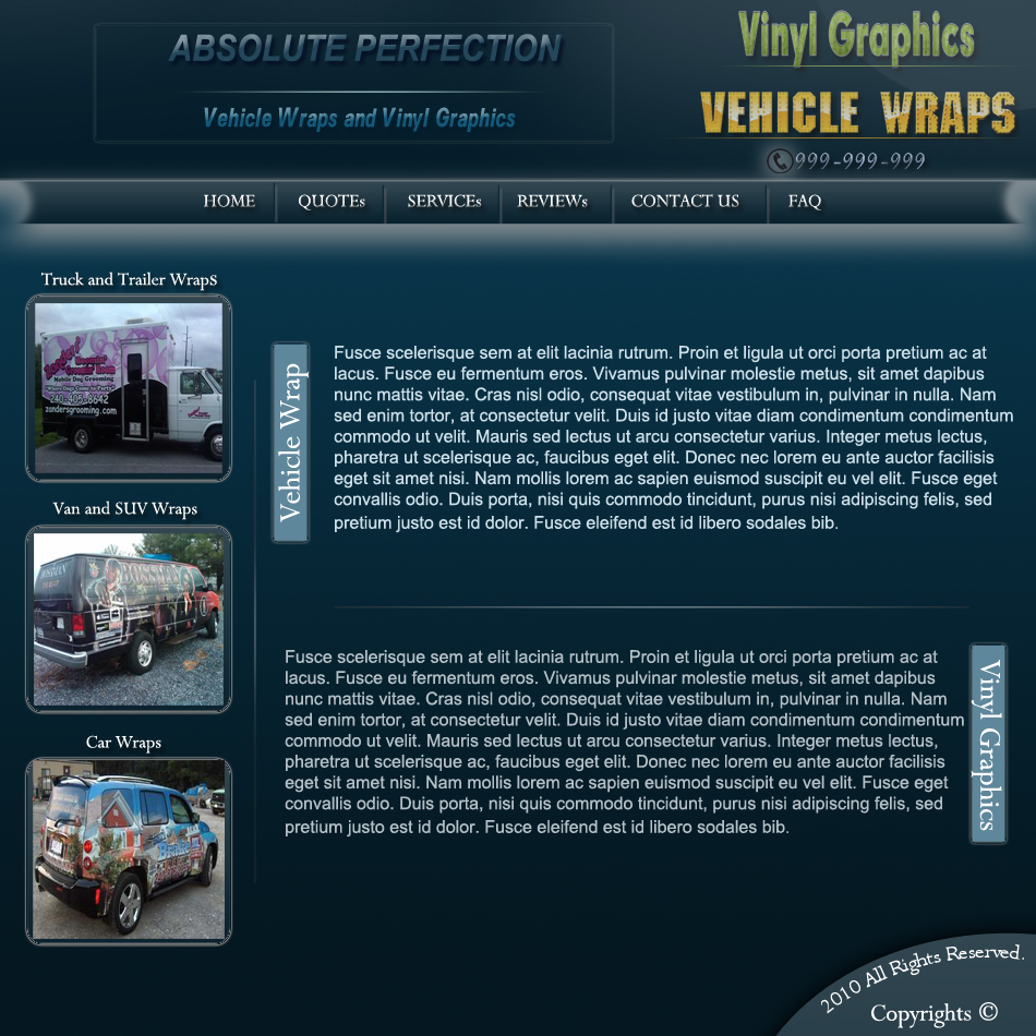 Web Page Design by Pavl0s - Entry No. 10 in the Web Page Design Contest Absolute Perfection Vehicle Wraps and Graphics.