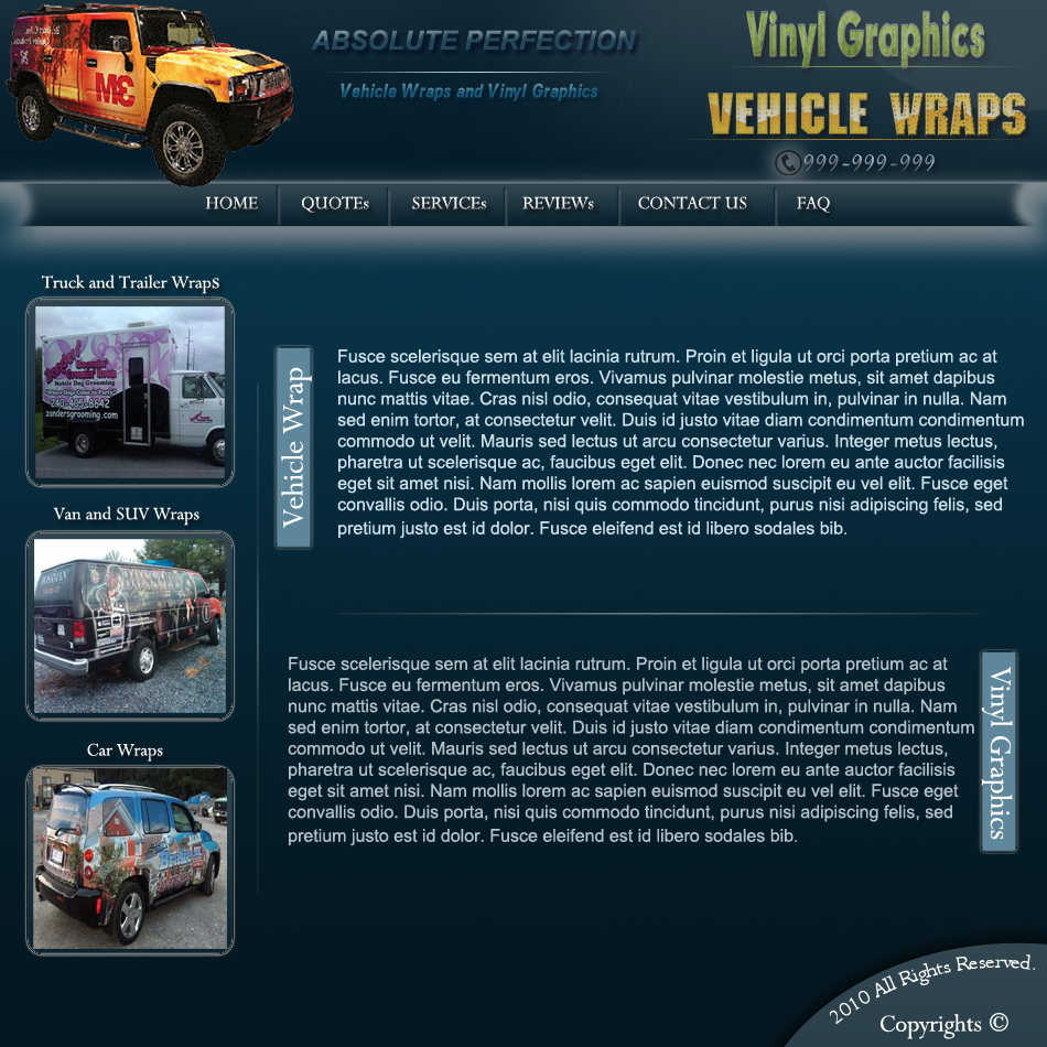 Web Page Design by Pavl0s - Entry No. 11 in the Web Page Design Contest Absolute Perfection Vehicle Wraps and Graphics.
