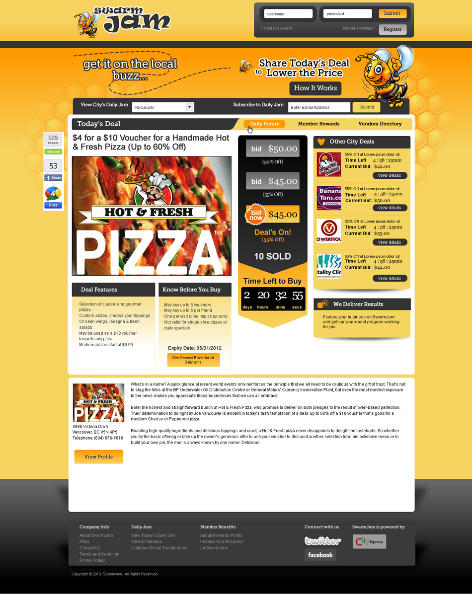 Web Page Design by Alf Catadman - Entry No. 72 in the Web Page Design Contest SwarmJam.com website facelift.
