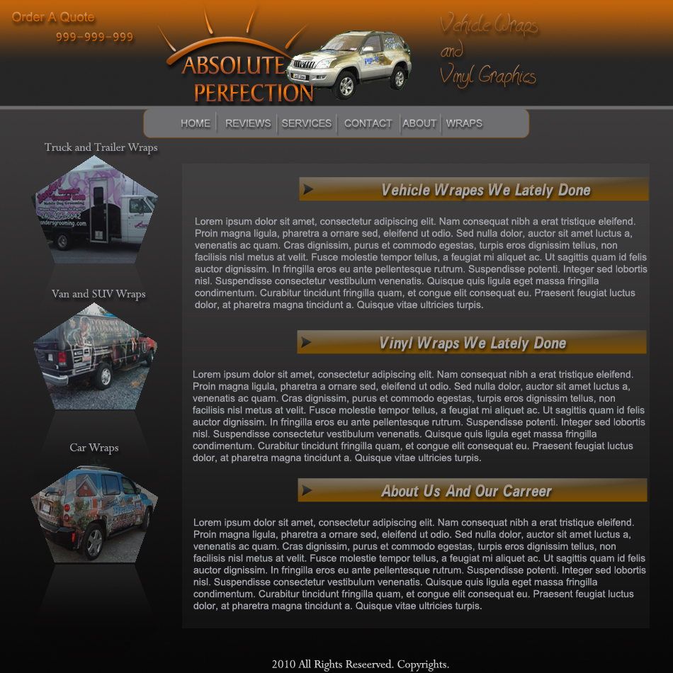 Web Page Design by Pavl0s - Entry No. 14 in the Web Page Design Contest Absolute Perfection Vehicle Wraps and Graphics.