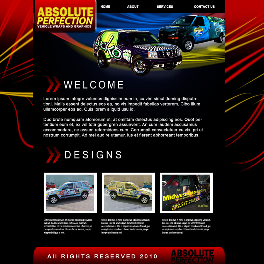 Web Page Design by Brian  Lu - Entry No. 18 in the Web Page Design Contest Absolute Perfection Vehicle Wraps and Graphics.