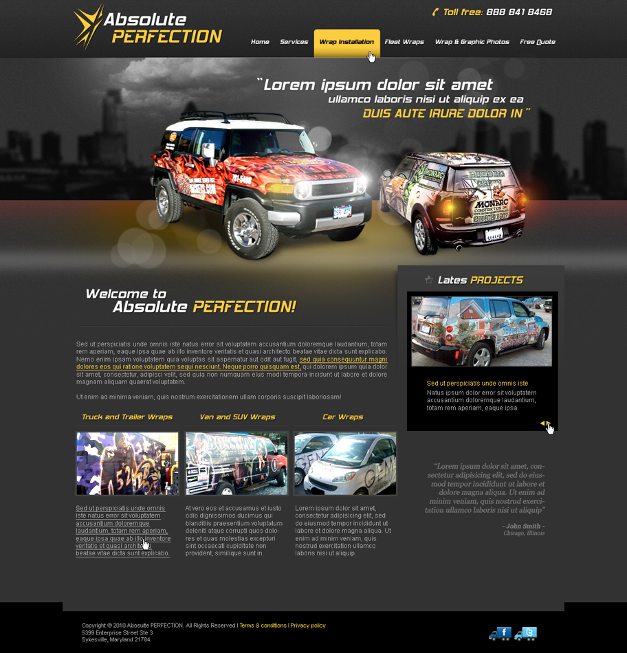 Web Page Design by John - Entry No. 19 in the Web Page Design Contest Absolute Perfection Vehicle Wraps and Graphics.