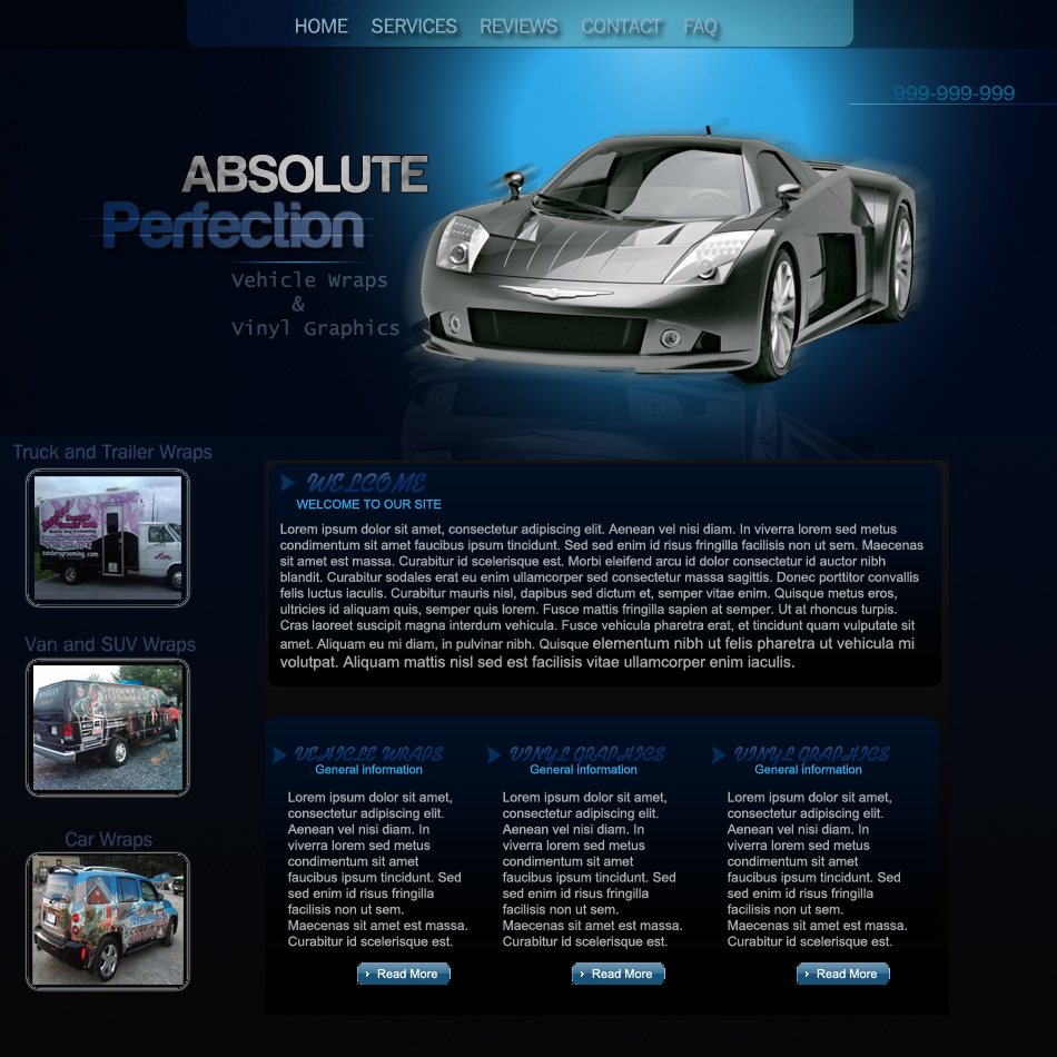 Web Page Design by Pavl0s - Entry No. 21 in the Web Page Design Contest Absolute Perfection Vehicle Wraps and Graphics.