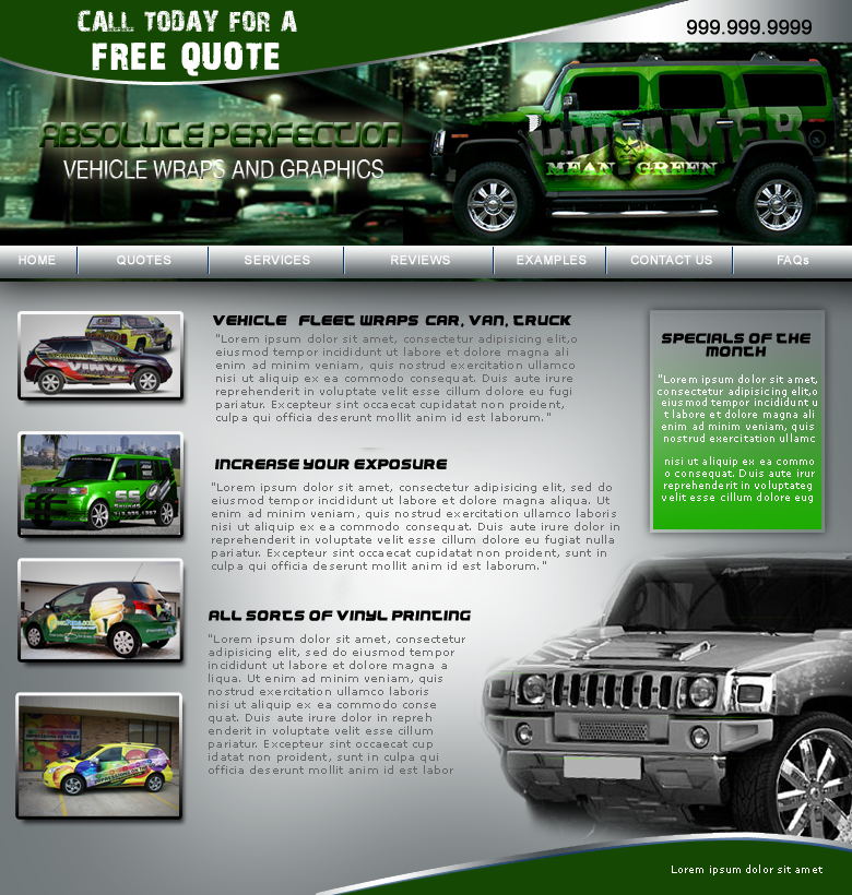 Web Page Design by keekee360 - Entry No. 25 in the Web Page Design Contest Absolute Perfection Vehicle Wraps and Graphics.