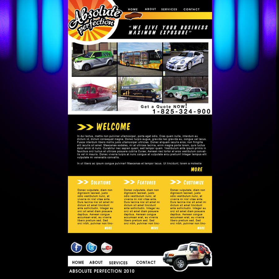 Web Page Design by Brian  Lu - Entry No. 26 in the Web Page Design Contest Absolute Perfection Vehicle Wraps and Graphics.