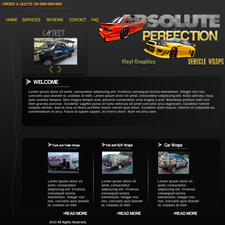Web Page Design by Pavl0s - Entry No. 27 in the Web Page Design Contest Absolute Perfection Vehicle Wraps and Graphics.