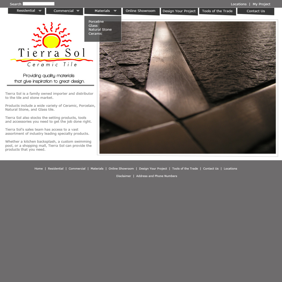 Web Page Design by jensen - Entry No. 2 in the Web Page Design Contest Tierra Sol Ceramic Tile - Web Site.