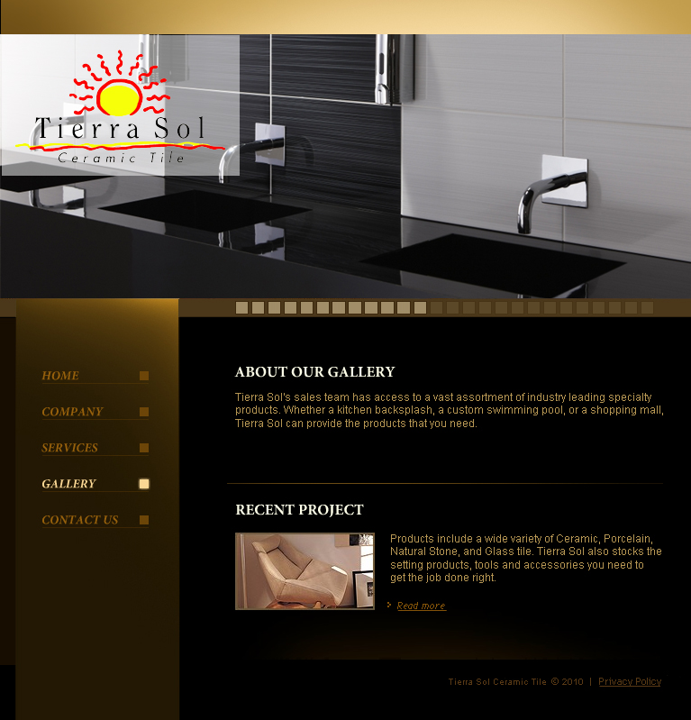 Web Page Design by tsyrette - Entry No. 3 in the Web Page Design Contest Tierra Sol Ceramic Tile - Web Site.