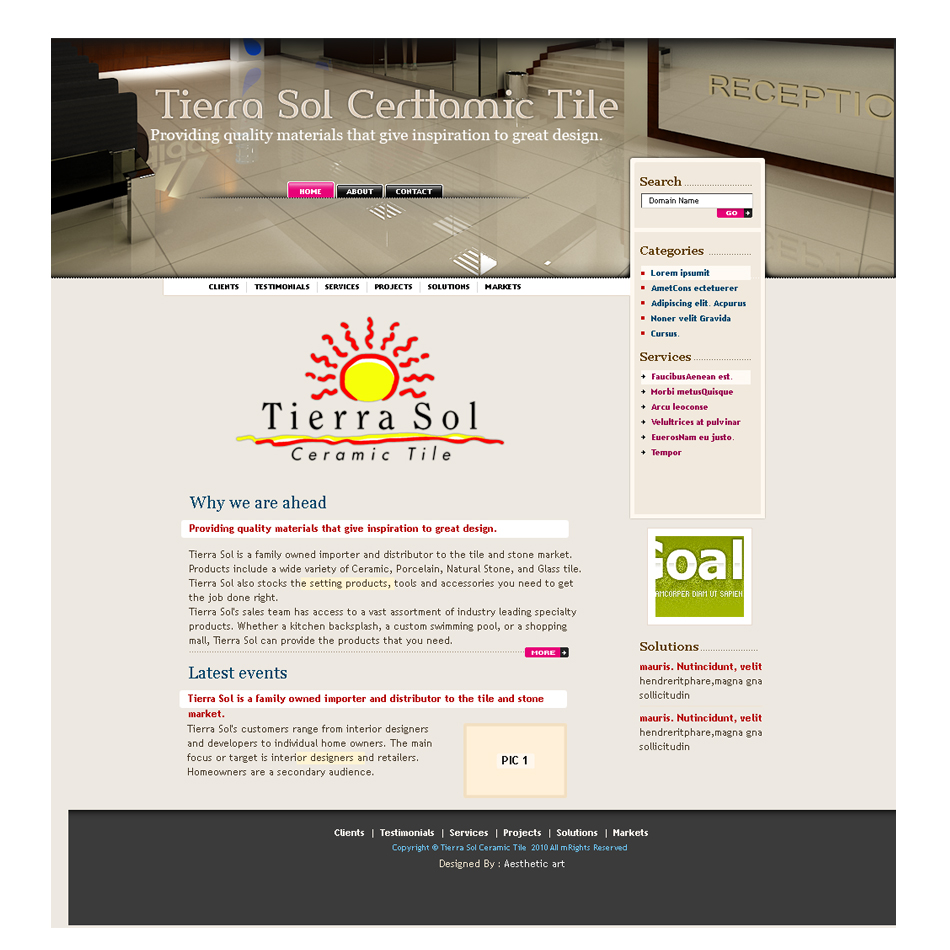 Web Page Design by aesthetic-art - Entry No. 4 in the Web Page Design Contest Tierra Sol Ceramic Tile - Web Site.
