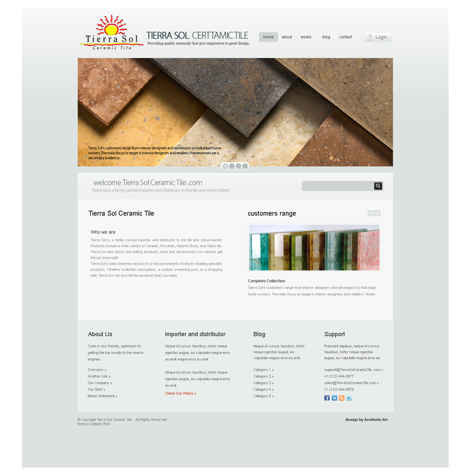 Web Page Design by aesthetic-art - Entry No. 5 in the Web Page Design Contest Tierra Sol Ceramic Tile - Web Site.