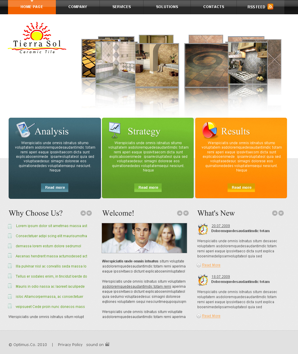 Web page design contests tierra sol ceramic tile web for Home plan websites