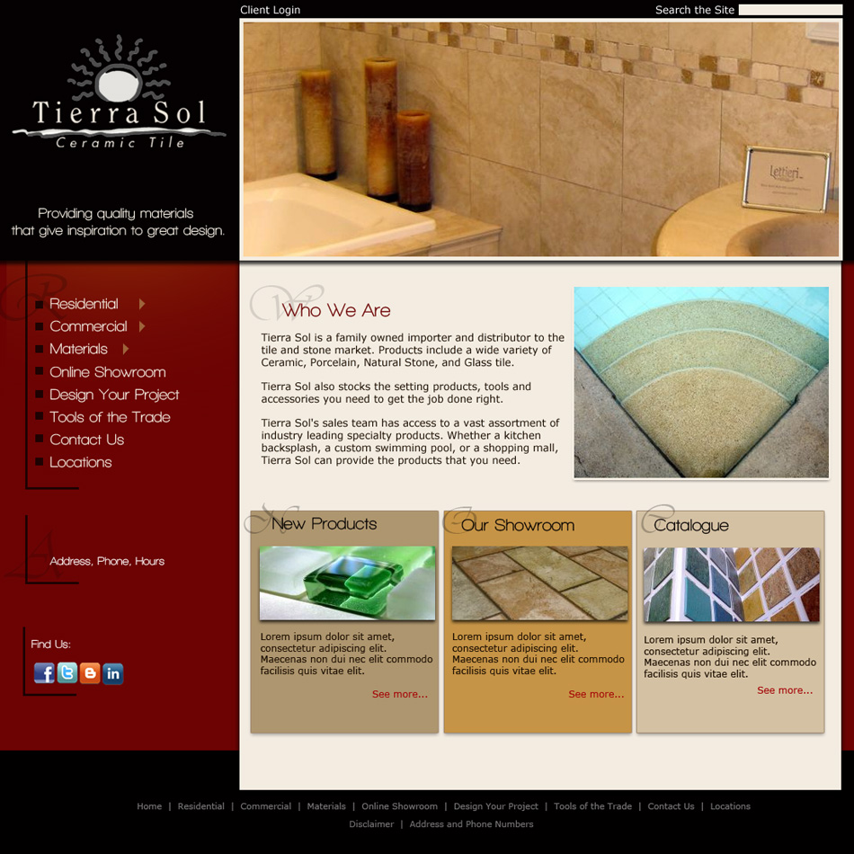Web Page Design by jensen - Entry No. 7 in the Web Page Design Contest Tierra Sol Ceramic Tile - Web Site.